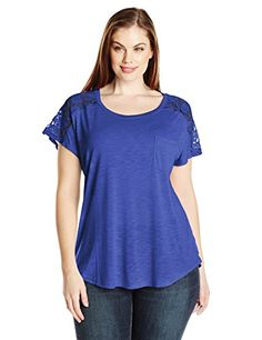 4829c8dd028 Paper + Tee Women s Plus-Size Scoop Neck Short Sleeve Lace Trim Shoulder Top