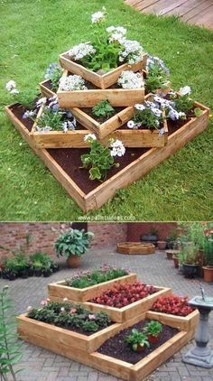 20 Truly Cool DIY Garden Bed and Planter Ideas - Build tiered beds from wood. - 20 Truly Cool DIY Garden Bed and Planter Ideas – Build tiered beds from wooden pallets. – 20 Truly Cool DIY Garden Bed and Planter Ideas Diy Garden Bed, Diy Garden Projects, Easy Garden, Garden Tips, Palet Garden, Raised Herb Garden, Garden Mesh, Raised Gardens, Pallet Garden Projects
