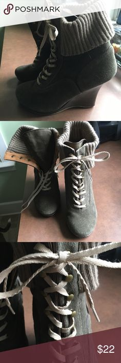 Olive Wedge Lace-Up Booties - Size 10 Olive Wedge Lace-Up Booties - Size 10 Shoes Lace Up Boots