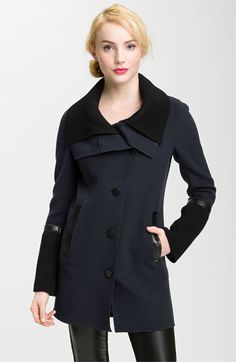 Mackage Knit & Leather Trim Coat available at #Nordstrom