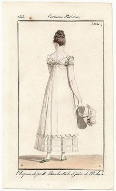 1813, the low V-back, the lace-like edges, the different fabric on the sleeves, the SHEER LOWER SKIRT PANEL