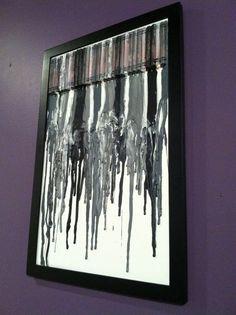 Achromatic crayon melt art