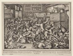 Pieter de Bailliu (I) | De schoenmaker en de spinster als schoolmeesters, Pieter de Bailliu (I), Pieter van der Borcht (I), Frans van den Wijngaerde, 1623 - 1660 | Hardwerkende schoenmaker en zijn vrouw met heel veel kinderen die lezen, eten en drinken en kattenkwaad uithalen. Het vers onder de voorstelling, in twee talen, verwijst hiernaar.