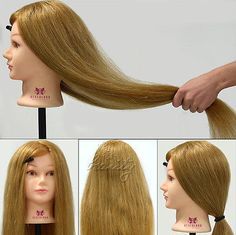 """Cosmetology Training Head Mannequin,100% Real Human Hair, 26"""" Long Hairdressing"""