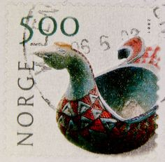 """Norway. photo/stamp of antique dragon """"Ale Bowl"""" -- used to share... Ale !! on a special occasion. carved & handpainted. Antique"""