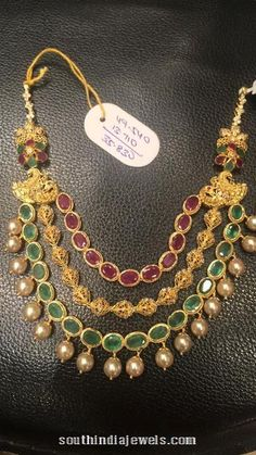 gold multi layer ruby emerald necklace design from Premraj Shantilal Jain Jewellers. Gold Necklace Simple, Gold Jewelry Simple, Coral Jewelry, Bridal Jewelry, Beaded Jewelry, Emerald Necklace, Silver Jewelry, Silver Earrings, Earrings Uk