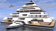 Architect Pierpaolo Lezzerini is creating his own Waterworld with the Wayaland Floating Community. The buoyant pyramids are inspired by a fusion of Mayan architecture and. Maya Architecture, Floating Architecture, Futuristic Architecture, Sustainable Architecture, Pavilion Architecture, Residential Architecture, Contemporary Architecture, Casa Bunker, Pyramid House