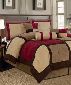 This Brown & Burgundy Textiles Plus Comforter Set by Textile Plus is perfect! #zulilyfinds