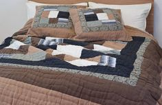 kadi earth indian bedspreads - chocolate, ivory and charcoal - perfect for a winter bedroom....