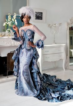 "The best ankara dress styles are absolutely top notch.African fashion with its ankara styles and lace styles popularly known as as ""asoebi"" are here to stay. African Prom Dresses, Ankara Dress Styles, African Dresses For Women, African Fashion Dresses, Ankara Gowns, African Wedding Attire, African Attire, Wedding Dress Trends, Wedding Dress Styles"