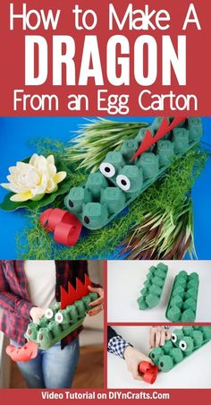 Follow this easy tutorial for turning old egg cartons into this adorable egg carton dragon project! An ideal easy craft for kids to make! This upcycled egg carton craft is a great DIY puppet or fun dragon kids party decoration! #Dragon #EggCarton #UpcycledEggCarton #UpcycledCraft #KidsCraft Cute Kids Crafts, Crafts For Kids To Make, Projects For Kids, Summer Diy, Summer Crafts, Dragon Project, Egg Carton Crafts, Egg Cartons, Kids Party Decorations