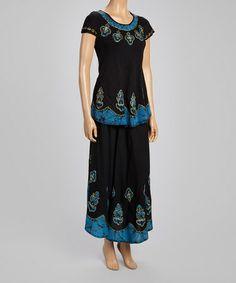 Loving this Black & Blue Cap-Sleeve Top & Maxi Skirt on #zulily! #zulilyfinds