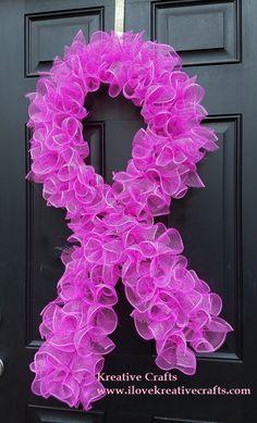 Spring Wreath for Front Door - Breast Cancer Awareness Pink Ribbon Deco Mesh Tulip Wreath.