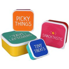 Set Of 4 Snack Boxes Store your snacks in these brightly coloured food containers from Happy Jackson. Perfect for packing lunches, the set contains four different sized boxes that can be stacked inside one another when not in u Plastic Food Containers, Food Storage Containers, Jar Storage, Storage Boxes, Snack Box, Shop Till You Drop, Summer Gifts, Red Candy, Welcome Gifts