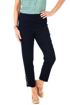 Denim Circle Pull-On Ankle Pant