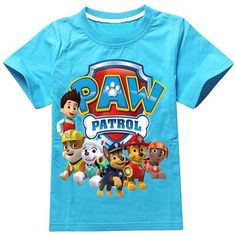 Casual Round Neck Paw Patrol 3D Print Short Sleeves Kid's T-Shirt