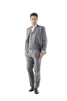 Grey Sharkskin Mens Three Piece Suit by Ravis Custom Tailor