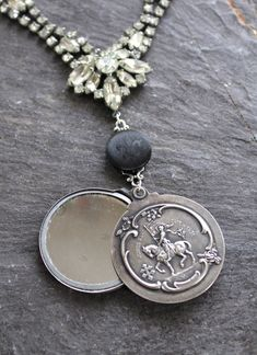 JOAN of ARC  MEDAL religious vintage  assemblage necklace