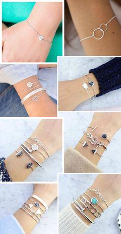 Pulseiras delicadas - prata Minimalist Jewelry, Minimalist Fashion, Bracelet Crafts, Bracelets, Fashion Rings, Fashion Jewelry, Silver Jewelry, Gemstone Jewelry, Donia
