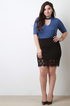 Scallop Floral Lace Hem Mini SkirtThis plus size mini skirt features a stretchy textured knit fabrication, elasticized waistband, and wide floral lace trimming at hemline. Plus Size Mini Skirts, Plus Size Dresses, Plus Size Outfits, Dressy Dresses, Sexy Dresses, Mini Skirt Style, White Lace Skirt, Floral Lace, Size Clothing