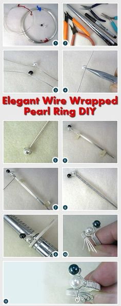 Elegant Silver Wire Wrapped Pearl Ring DIY #DIY http://www.diyhomestips.com/109/crafts/elegant-silver-wire-wrapped-pearl-ring-diy