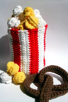 Crochet popcorn and pretzel!
