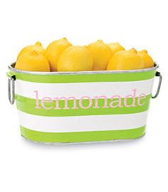 personalized lime stripe oval tub