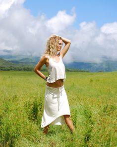 Sample SALE - Women's Skirt - High Low Hemline - Natural Color Hemp Organic…