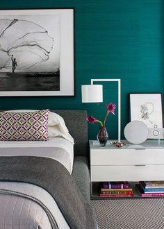 Wonderful Teal Bedroom Inspirations - The Urban Interior Bedroom Colors, Home Decor Bedroom, Jewel Tone Bedroom, Bedroom Ideas, Accent Wallpaper, Bedroom Wallpaper, Textured Wallpaper, Colorful Wallpaper, Bedroom Decor