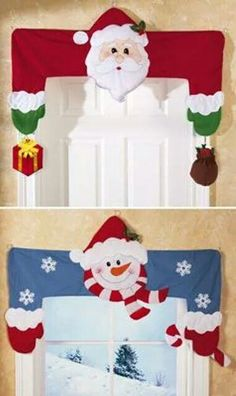 Decorative Holiday Door & Window Frame Huggers Wish I knew how sew Love theseDecoration for holiday seasonSo cute - I love adding special Christmas decorations all through the house.Collections Etc.: Product Page Christmas Sewing, Noel Christmas, All Things Christmas, Christmas Ornaments, Christmas Projects, Holiday Crafts, Holiday Decor, Holiday Ideas, Christmas Door Decorations