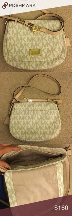 """Michael Kors Crossbody Purse Authentic Michael Kors light beige flap closure Crossbody purse with gold hardware. Used, but in like new condition. 9""""L x 10.5""""W x 2.5""""D, leather adjustable strap is about 44"""" to 47"""" long, with roughly 20"""" to 23"""" drop (depending on adjustments). Lightly pebbled Saffiano leather. Michael Kors Bags Crossbody Bags"""