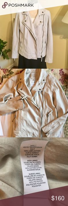 Genuine Leather Lucky Brand Moto Jacket Beautiful buttery soft lamb leather, this moto-style jacket is to die for! Fully lined, side front zip, zippers at sleeve cuffs, zippered front pockets. Cement stone color. Size medium. New!!! Never worn, tags still attached! 😍 Lucky Brand Jackets & Coats