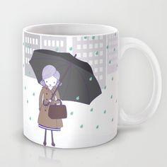 Girl in the rain Mug by radis - $15.00