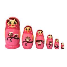 Nesting Doll Owl Pink 6Pc
