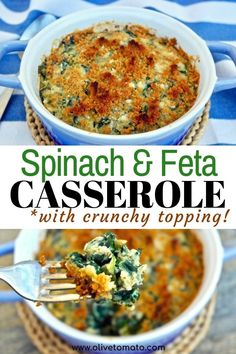 Spinach Casserole with Feta and Crunchy Topping | Olive Tomato