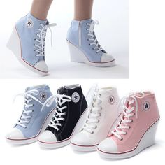 Tenis Sneakers Tacon Wedge Tipo Converse Envío Gratis