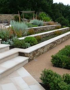 Fantastic DIY garden steps and stairs ideas - Modern Terraced Landscaping, Landscaping Retaining Walls, Front Yard Landscaping, Landscaping Ideas, Gravel Patio, Retaining Wall Steps, Patio Slabs, Pea Gravel, Landscaping Software
