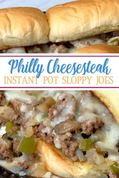 These Philly Cheesesteak Sloppy Joe Sandwiches in the Instant Pot are on repeat on our family menu! We love the combination of meat and vegetables on an easy sandwich that even our picky eaters enjoy! Using the Instant Pot makes this easy family meal so Philly Cheese Steak Sandwich, Chicken Philly, Cheesesteak Recipe, Sloppy Joes Recipe, Sloppy Joe Recipe Crock Pot, Instant Pot Dinner Recipes, Easy Family Meals, Kid Meals, On Repeat