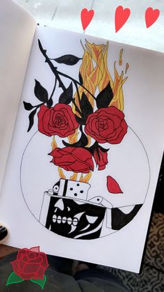 fire and roses drawing