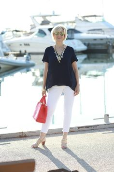 0cc61e69b42 Nautical Style  White Jeans   Navy Blouse – Fabulous After 40