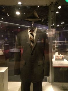 """Don Draper's suit and hat, 2007, worn by Jon Hamm on AMC's """"Mad Men"""" is on display in our """"American Stories"""" exhibition.  Sunday, November 22, 2015, is the last day to see it. Plan your visit!"""