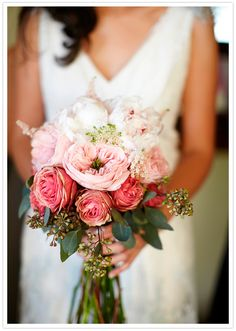 delicate bouquet of pink peonies and roses