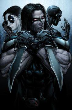 Domino, Warpath, and Archangel by Clayton Crain