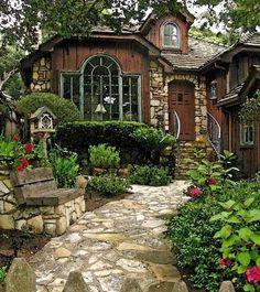 .Dark wood with stone cabin feel stone pathway walkway  Woods