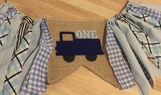 Blue Truck Birthday Banner Little Truck Highchair by AmpersandGO