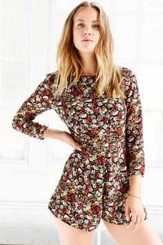 297e1f235087 Lucca Couture Floral Chiffon Long-Sleeve Romper