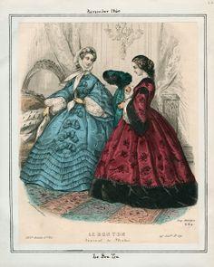 In the Swan's Shadow: Le Bon Ton, November 1860.  Civil War Era Fashion Plate