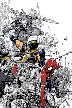 Spider-Man and Wolverine -->This must be some Arthur Adams work, very cool!