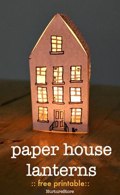 how to make paper house lanterns, free paper house template, house craft for kids house Free printable winter house lanterns Crafts For Kids To Make, Projects For Kids, Art For Kids, House Projects, Art Projects, Sand Crafts, Paper Crafts, Foam Crafts, Paper Toys