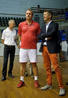(R) Crown Prince Frederik of Denmark speaks to Lars Uhre, coach of Danish National Badminton Team during his visit to the Danish National Badminton Team training ahead of the Badminton World Championships at Brondby Hallen on 12.08.2014 in Brondby, Denmark